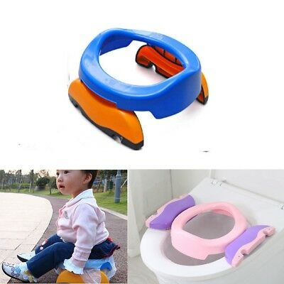 Kids Potty Training Travel Portable Foldable Toddler Toilet Safe Seat Blue
