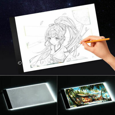 A3 A4 LED Ultra Slim Art Craft Copy Drawing Tracing Tattoo Light Box Pad Board--