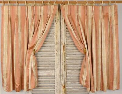 Superb Pair Vintage French Empire Style Satin Brocade Curtains / Drapes - PAIR 1