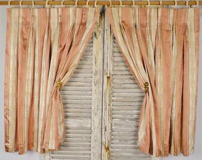 Superb Pair Vintage French Empire Style Satin Brocade Curtains / Drapes - PAIR 2