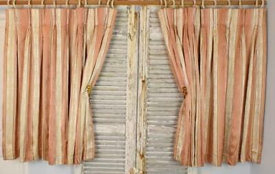 Superb Pair Vintage French Empire Style Satin Brocade Curtains / Drapes - PAIR 3