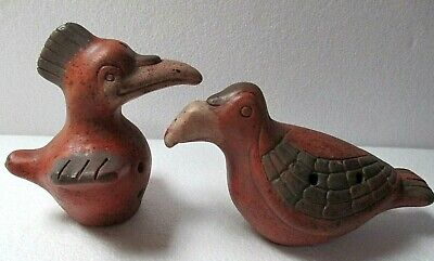 Mexican Pottery Pre Columbian Style Teotihuacan Mayan Aztec Bird Whistle Pair