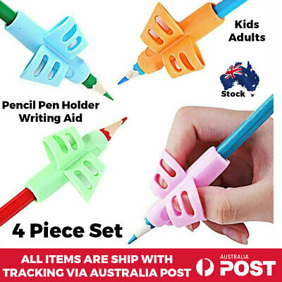 Kids Children Pencil Holder Writing Pen Aid Grip Posture Correction Tool 4pc Set