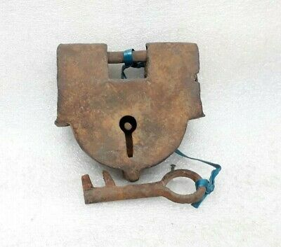 Antique Original Hand Crafted Old Iron Padlock Key Lock Working Condition ARA8