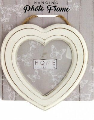 Valentine Heart Shaped Photo Frame - Cream Shabby Chic Vintage Style Home Decor