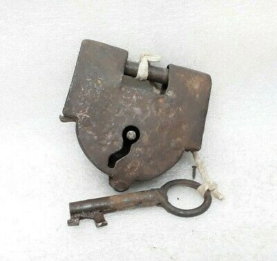 Antique Original Old Iron Hand Crafted Padlock Key Lock Working Condition ARA2