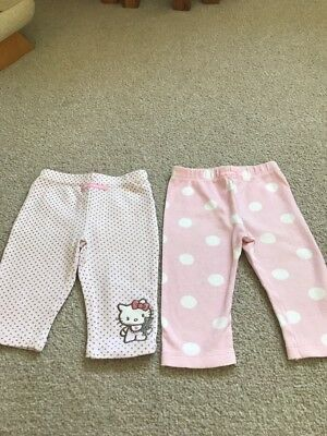 TU Two Pairs Of Pink Spotted  Baby Girls Leggings Age 6/9 Months