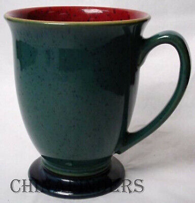 DENBY china HARLEQUIN Original England patten Mug - Red Green - Blue Foot 4-1/4""