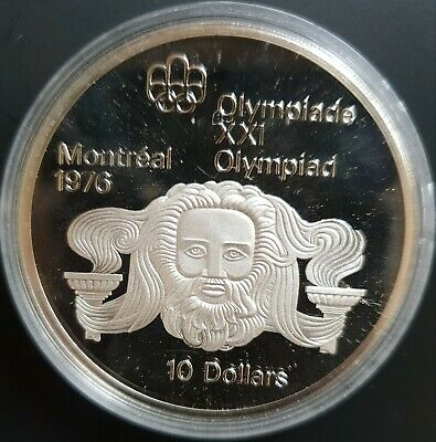 1974 Canada 10 Dollars Silver PROOF Coin Montreal Olympics (Head of Zeus)....