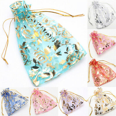 10PCS Organza Jewelry Candy Gift Pouch Bags Wedding Party Xmas Favors Decor LJ