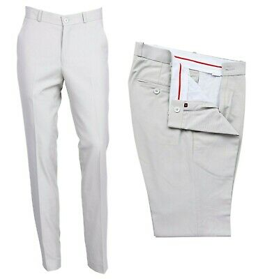 Mens Stone Retro Flat Fronted Sta Press Trousers Mod Skin 60s 70s Slim Fit Pants
