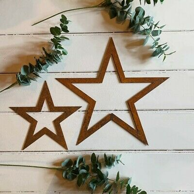 Flat Rusty Outline Metal Stars, Barn Star, Hanging Wall Decoration, Iron, Xmas,