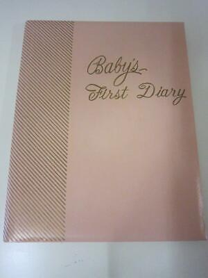 Vintage 1960's Pink Babys First Diary Record Book Unused Keepsake Book