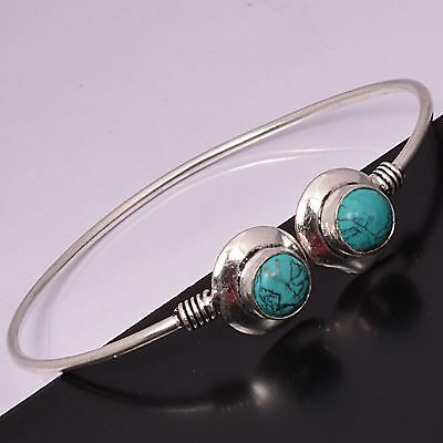 Turquoise Bracelet Cuff Bangle 925 Sterling Silver Plated Bracelet Jewelry