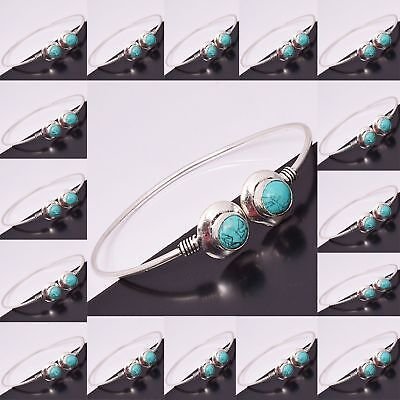 Turquoise Cuff Bangle Wholesale Lots 925 Sterling Silver Plated Bracelet Jewelry