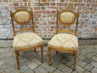 Antique Pair Of French Gilded & Upholstered Bedroom Or Hall Chairs