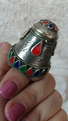 Vintage Kuchi Afghan Silver Tower Ring Ethnic Tribal Jewelry Boho Gypsy Size 7US