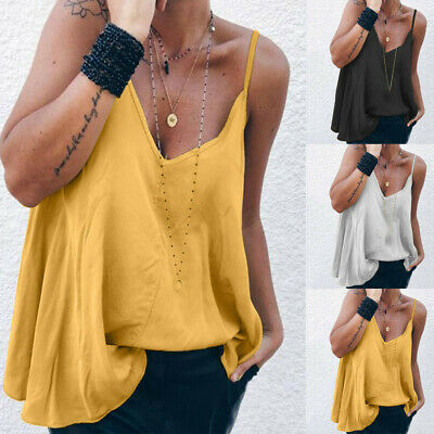 Womens Sexy Sling Oblique Sleeveless V-Neck Tank Tops Loose Solid T-Shirt Blouse