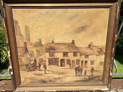 Antique Very Large Victorian Oil Painting Corfe Castle, Original Frame Signed
