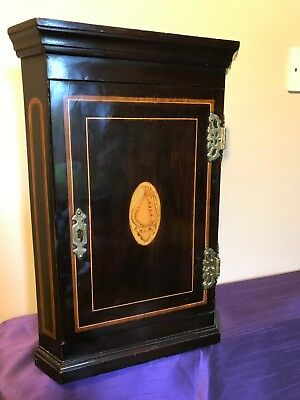 Small antique Georgian inlaid mahogany corner cabinet shell decorated panel door