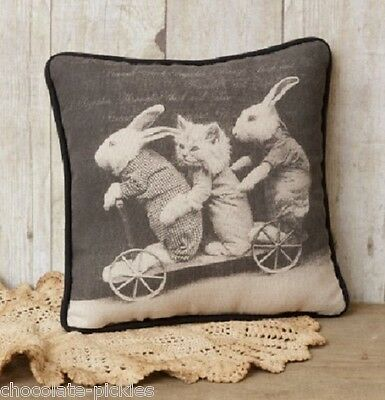 BUNNY RABBITS KITTEN CAT & Wagon Cart*PILLOW*Primitive Farmhouse Friend Gift!