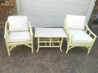 Beautiful Vintage McGuire Sunroom Furniture Set His / Her Chair & Matching Table