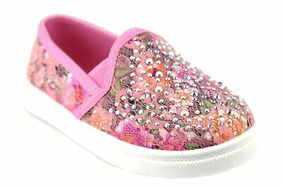 Little Toddler Girls  Embellished Floral Print Lace Slip On Sneakers Flats Shoes