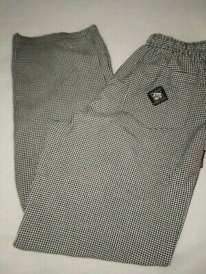 Aussie Chef Checkered Chef Pants Trousers Size S Elastic Waist