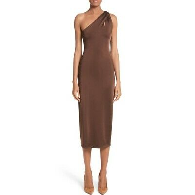 6e153ce7 NEW $1,495 CUSHNIE et OCHS Brown One Shoulder with Twisted Strap Midi Dress  2