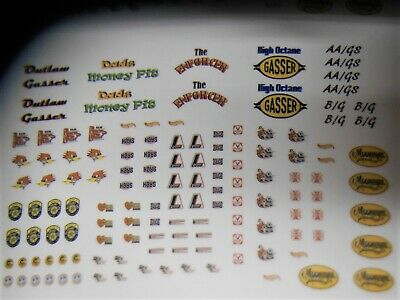 Gasser CLEAR Background Water slide Decals 1/64 S & HO Scale Hot Wheels