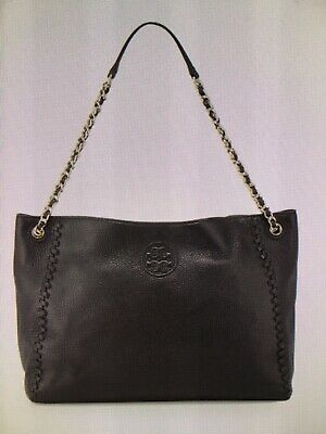 06619d9c15e Tory Burch Marion Chain Shoulder Strap Slouchy Bag Purse Tote Black  Authentic