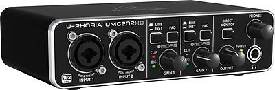 BEHRINGER UMC202HD 2x2 24bit/192 khz Recording USB Audio Interface + Warranty