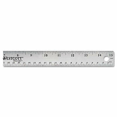 "Westcott 15"" Stainless Steel Office Ruler With Non Slip Cork Base (10416)"