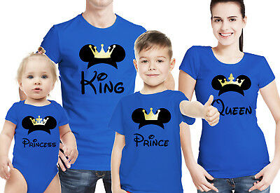 4 5 Family King Queen Prince Princess white T-shirts with mouse ears  Set of 3