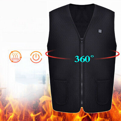 Unisex Electric Battery Heated Heating Vest Winter Warm Up Jacket USB Pocket Hot