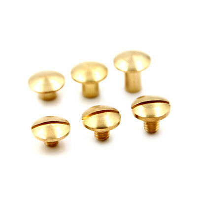 10x Arc Solid Brass Button Stud Screw Nail Screw back Leather Rivet Belt 6mm H@