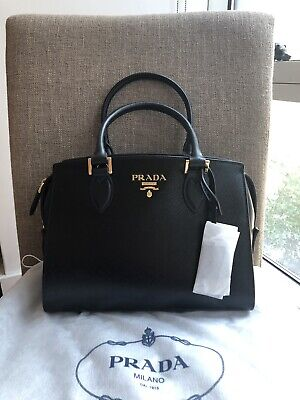 84a1a8965 Auth NWB Prada Patent Saffiano Leather Esplanade Handbag Shoulder Bag Black