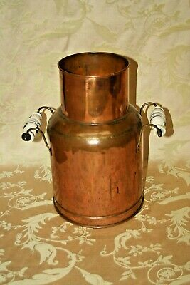 "Antique Large 15"" European Copper Water Jug w/ Delft Blue Style Ceramic Handles"