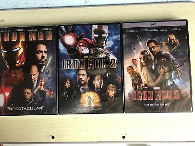 Iron Man 1,2,3 DVD Marvel Movies Bundle Iron Man 2, Iron Man 3 Brand New!