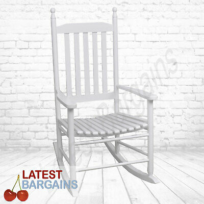 White Wooden Patio Rocking Chair Seat Timber Furniture Indoor Outdoor