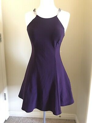 Betsy & Adam Womens Purple Embellished Halter Cocktail Dress 10 New