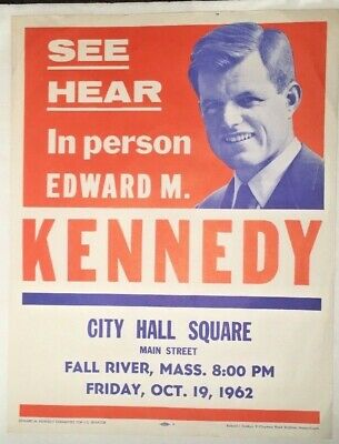 Edward TED KENNEDY For Senator 1962 Campaign Rally Flyer Poster Fall River, MASS