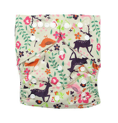 Junior XL Reusable Modern Cloth Nappy + INSERT up to 20kg - Forest & Purple Deer
