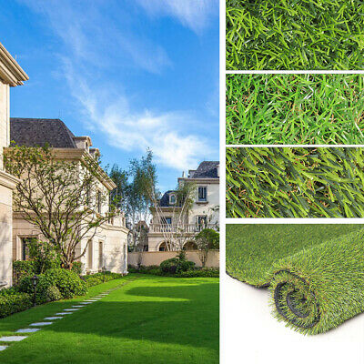 30/40mm Thick Realistic Artificial Grass Garden Fake Astro Natural Lawn Turf Rug