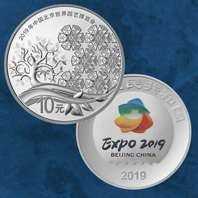 Chine - Beijing Horticultural Expo 2019 - 10 Yuan 2019 Pp Argent - 30 Grammes...