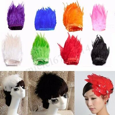 1m Rooster Hackle Feather Fringe Trim Sewing Costume Millinery Craft Cloth