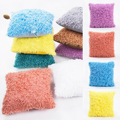 UK Soft Fur Fluffy Plush Pillow Case Sofa Waist Throw Cushion Cover Home Decor