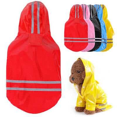 Waterproof Dog Hooded Raincoat Rain Coat Pet Jacket Puppy Clothes Costume Reuse