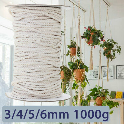 3/4/5/6mm New Macrame Rope Natural Beige Cotton Twisted Cord Artisans Hand Craft