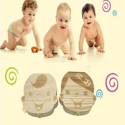 Storage Small Kids Child Baby Tooth Hair Keepsake Wooden Box Boy Girl Save Teeth